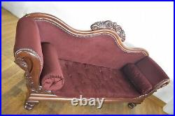 Antique style carved and buttoned double ended chaise longue day sofa settee