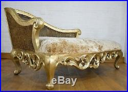 Antique style carved bergere cane chaise longue day bed sofa settee