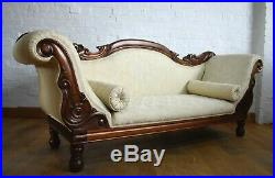 Antique style carved double ended scrolling chaise longue day sofa settee
