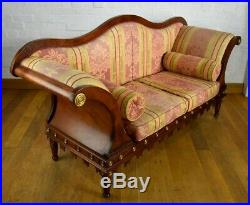 Antique style scrolling arm chaise longue sofa settee