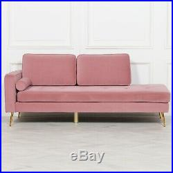 Art Deco Style Pink Velvet Chaise Longue Wth Gold Legs Lounge Day Bed Couch