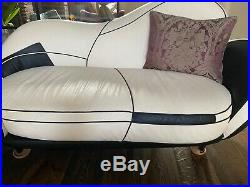 Art Deco style leather chaise longue/ sofa, used, excellent condition