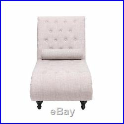 Beige Chaise Longue Sofa Bed Chair with Pillow Living Room Bedroom Linen Fabric