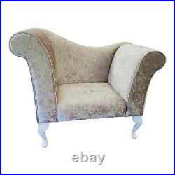 Beige Crushed Velvet Chaise Chair Sofa Bedroom Accent Chair Bench