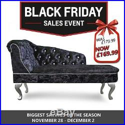 Black Crushed Velvet Buttoned Chesterfied Tufted Chaise Lounge Sofa Accent Chair