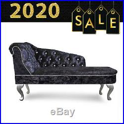 Black Crushed Velvet Buttoned Chesterfield Tufted Chaise Lounge Sofa Acent Chair
