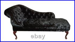 Black Crushed Velvet Tufted Chesterfield Chaise Lounge Sofa Bedroom Chair SALE