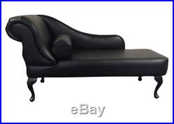 Black Leather Tufted Chesterfield Chaise Lounge Sofa Bedroom Accent Chair Bench