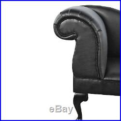 Black PU Leather Chaise Lounge Sofa Chair Elegant Lounger Bedroom Style Suite UK