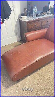 Brown Real Leather Chaise Lounge Real Leather