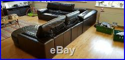 Brown leather DFS London corner sofa suite with chaise longue