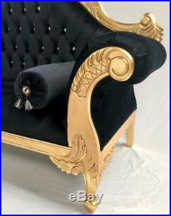CHARLES French Style Chaise Longue Sofa GOLD Leaf BLACK VELVET Crystals FREE DEL