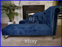 Chaise Longue Chaise Lounge Chesterfield Chair Bedroom Room Velvet Sofa Seat