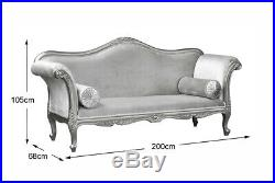 Chaise Longue, French Louis XV Lounge Gold Frame with Glamour Velvet