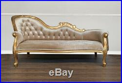 Chaise Longue, French Louis XV Lounge Gold Frame with Glamour Velvet Upholst
