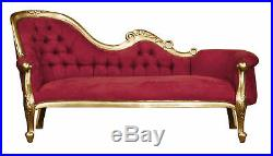 Chaise Longue, French Louis XV Lounge Gold Leaf with Wine Velvet upholstery