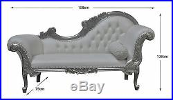 Chaise Longue, French Louis XV Lounge Silver Frame with White Faux leather