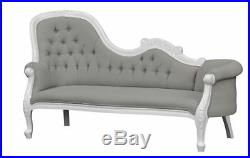 Chaise Longue French Louis XV Lounge White with grey twill upholstery
