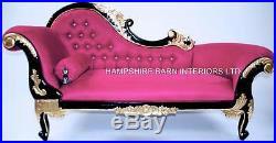 Chaise Longue Fuchsia Pink Black & Gold Crystals Ornate French Louis Style Sofa