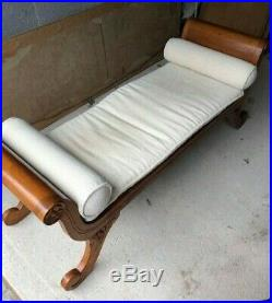Chaise Longue Grecian style bed end bench with seat pad/2 bolster cushions