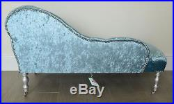 Chaise Longue Lounge Bench Seat in Crushed Blue Velvet. Handmade in UK