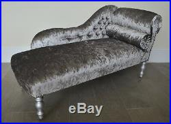 Chaise Longue Lounge Bench Seat in Crushed Pewter Velvet. Handmade in UK