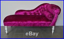 Chaise Longue Lounge Bench Seat in Crushed Pink Velvet. Handmade in UK