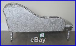 Chaise Longue Lounge Bench Seat in Crushed Silver Velvet. Handmade in UK