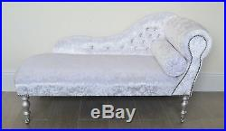 Chaise Longue Lounge Bench Seat in Crushed White Velvet with Diamante Buttons