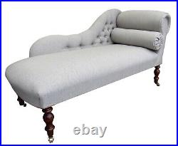 Chaise Longue Lounge Bench Seat in a Biscuit Herringbone. Handmade in UK