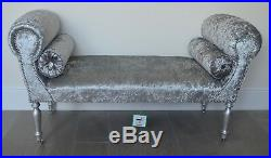 Chaise Longue Lounge Daybed Bench Seat in Crushed Silver Velvet