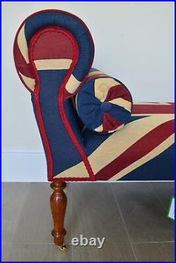 Chaise Longue Lounge Daybed Bench Seat in Woven Union Jack. Handmade in UK