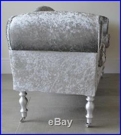 Chaise Longue Lounge Sofa Bench Seat Crushed Silver Velvet with Diamante Buttons