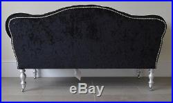 Chaise Longue Lounge Sofa Bench Seat in Crushed Black Velvet. Handmade in UK