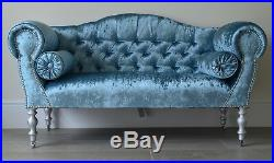 Chaise Longue Lounge Sofa Bench Seat in Crushed Blue Velvet. Handmade in UK