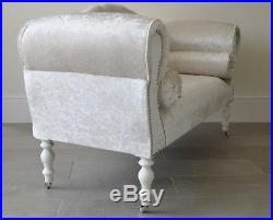 Chaise Longue Lounge Sofa Bench Seat in Crushed Cream Velvet. Handmade in UK