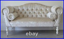 Chaise Longue Lounge Sofa Bench Seat in Crushed Mink Velvet. Handmade in UK