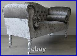 Chaise Longue Lounge Sofa Bench Seat in Crushed Pewter Velvet. Handmade in UK