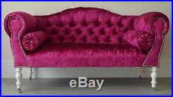Chaise Longue Lounge Sofa Bench Seat in Crushed Pink Velvet. Handmade in UK