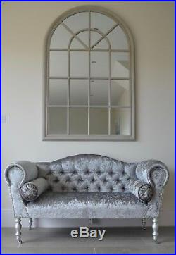 Chaise Longue Lounge Sofa Bench Seat in Crushed Silver Velvet. Handmade in UK