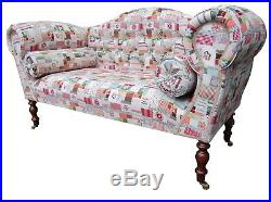 Chaise Longue Lounge Sofa Bench Seat in Patchwork Weave. Handmade in UK