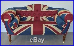 Chaise Longue Lounge Sofa Bench Seat in Woven Union Jack. Handmade in UK