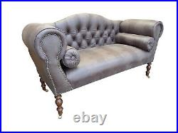 Chaise Longue Lounge Sofa Bench Seat in a Brown Faux Leather in Moc-Crocodile