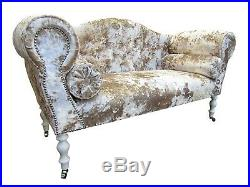Chaise Longue Lounge Sofa Bench Seat in a Heavily Crushed Cream Velvet