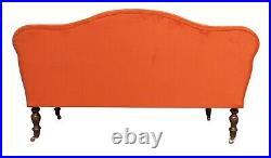 Chaise Longue Lounge Sofa Bench Seat in a Orange Velvet. Handmade in UK