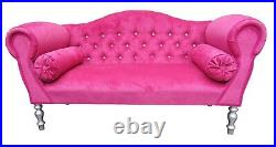 Chaise Longue Lounge Sofa Bench Seat in a Pink Velvet. Handmade in UK