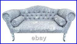 Chaise Longue Lounge Sofa Bench Seat in a Printed Grey Lilac Toile De Jouy
