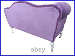 Chaise Longue Lounge Sofa Bench Seat in a Purple Velvet. Handmade in UK