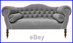 Chaise Longue Lounge Sofa Bench Seat in a Silver/Light Grey Velvet