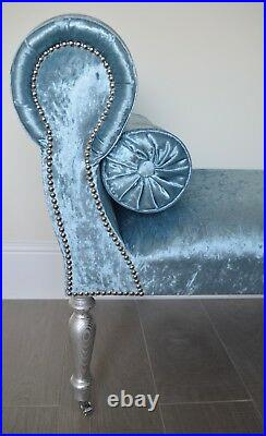 Chaise Longue Lounge Sofa Daybed Bench Seat Crush Blue Velvet. Handmade in UK